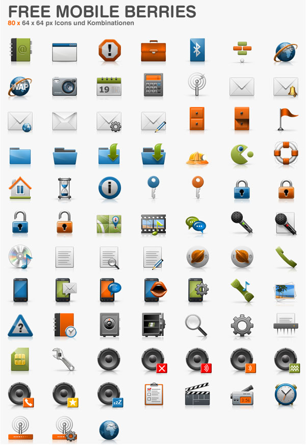 Download Free Mobile Berries Icons Set