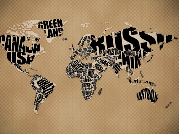 Wallpaper: Typography World Map Wallpaper