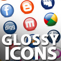 Post Thumbnail of Glossy Social Media Icons:24 Icons Including PSD File