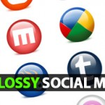 Glossy Social Media Icons:24 Icons Including PSD File