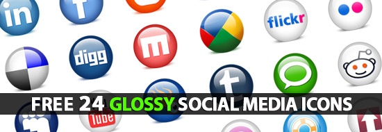 Post image of Glossy Social Media Icons:24 Icons Including PSD File