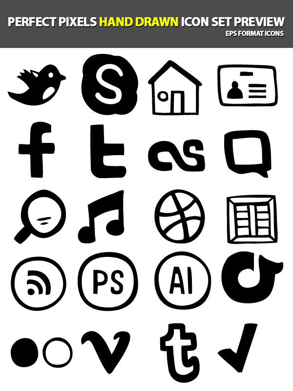 Perfect Pixels Hand-Drawn Icon Set