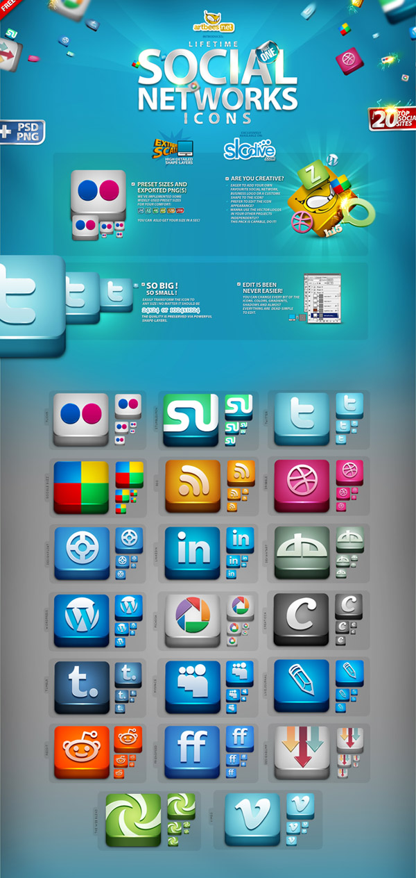 High-Qty Top 300 Social Networks Icons