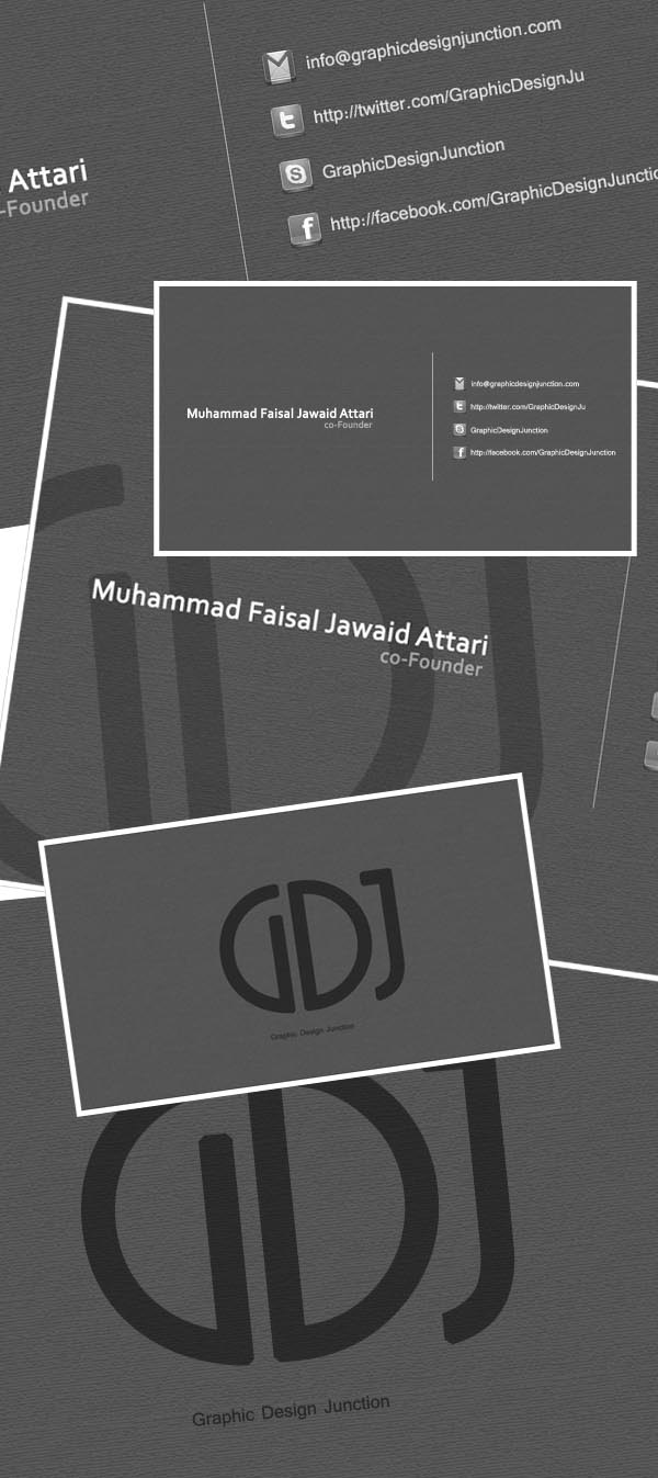 Grayscale Business Card PSD Preview