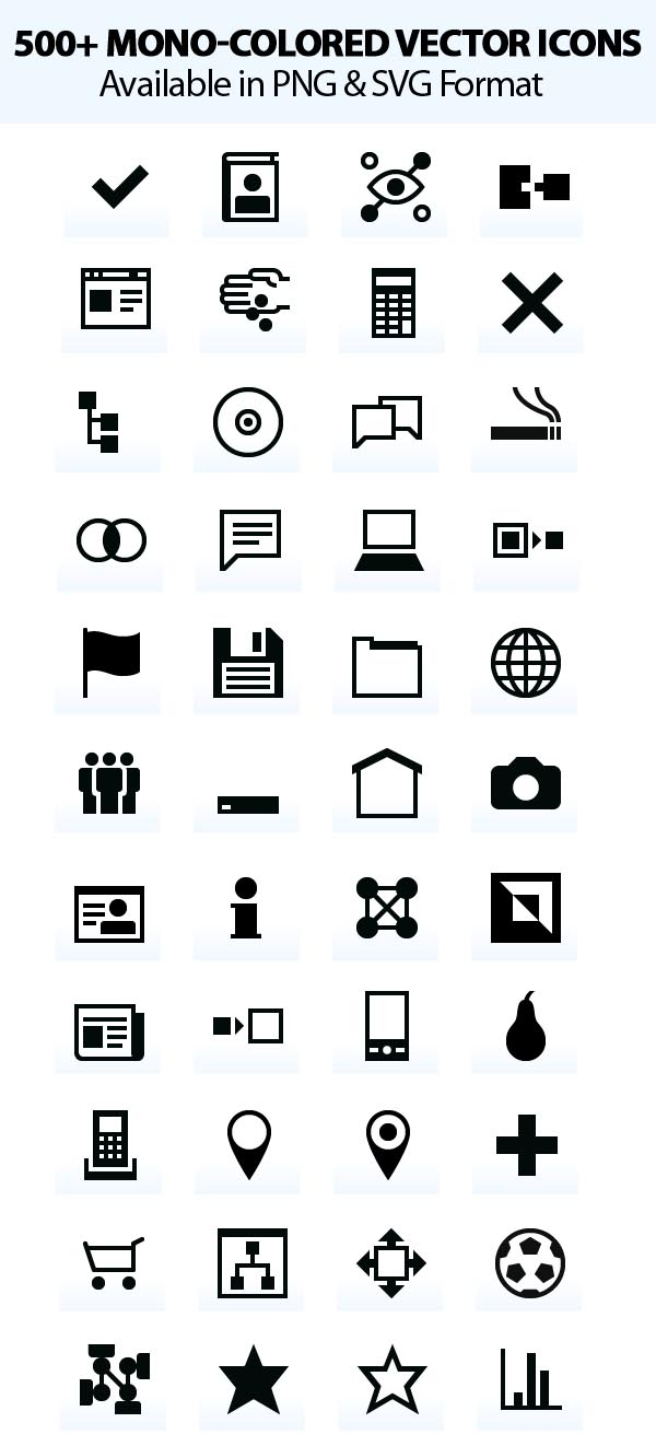 500+ Mono-Colored Vector Icons