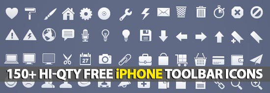 150+ Hi-Qty Free iPhone Toolbar Icons
