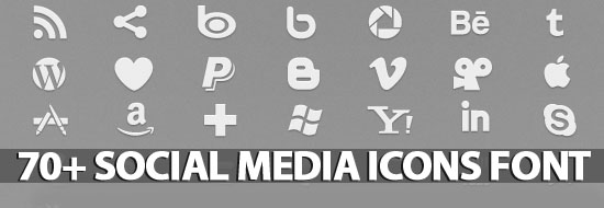 Post image of 70+ Social Icons Font (Pictograms)