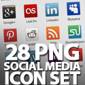 Post thumbnail of PNG Social Media Icon Set (28 Icons)