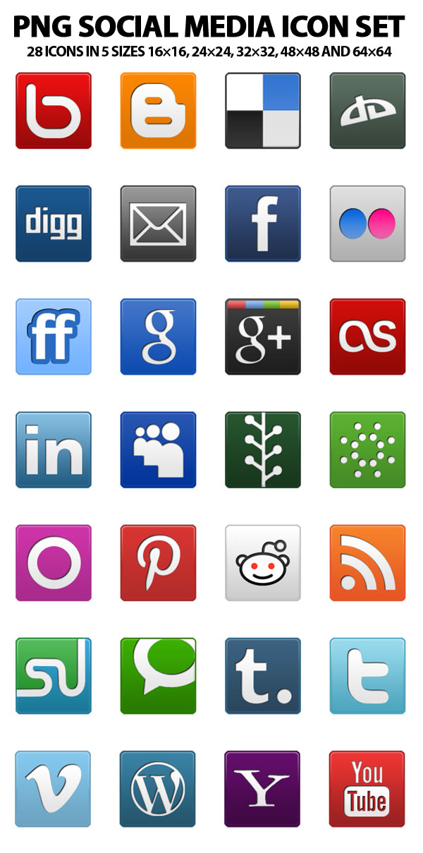PNG Social Media Icon Set