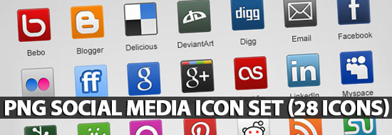 Post image of PNG Social Media Icon Set (28 Icons)