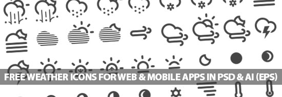 Free Weather Icons For Web & Mobile Apps In PSD & AI (EPS)