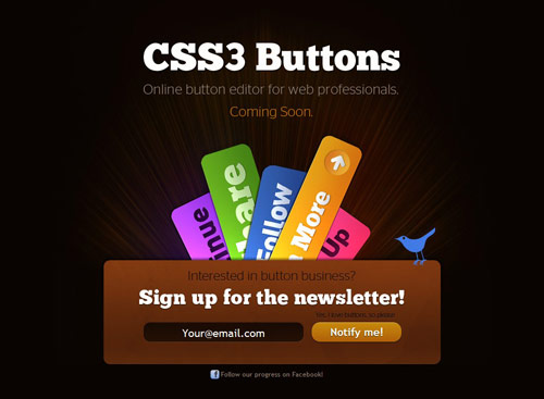 CSS3 Buttons Coming Soon Page Design