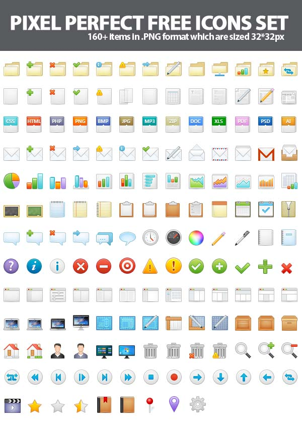 160+ Pixel Perfect Free Icons Set