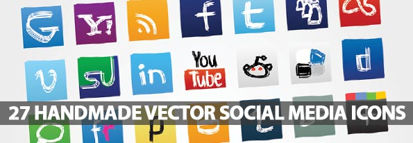 27 Handmade Vector Social Media Icons – Freebie