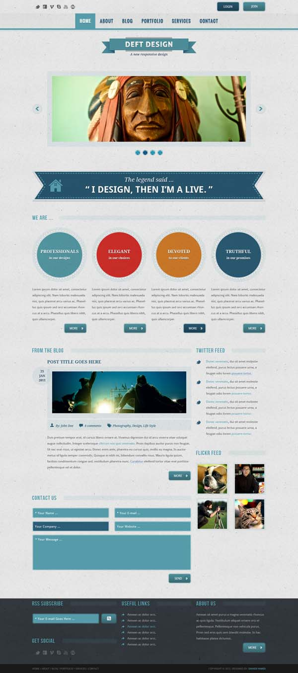 Deft Design - PSD Template web interface design