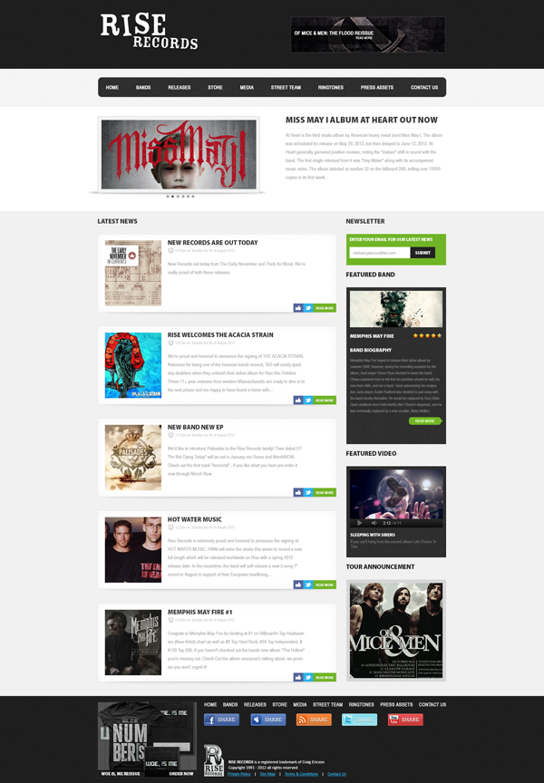 Rise Records web interface design