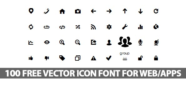 Free Vector Icons Font For Web and Apps (100 Icons)