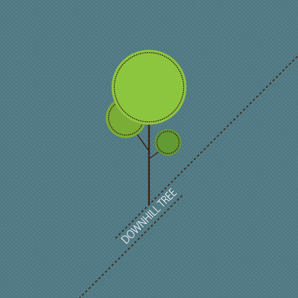 Downhill Tree Vector Graphic