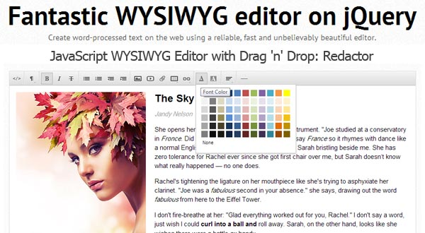 JavaScript WYSIWYG Editor With Drag 'n' Drop : Redactor