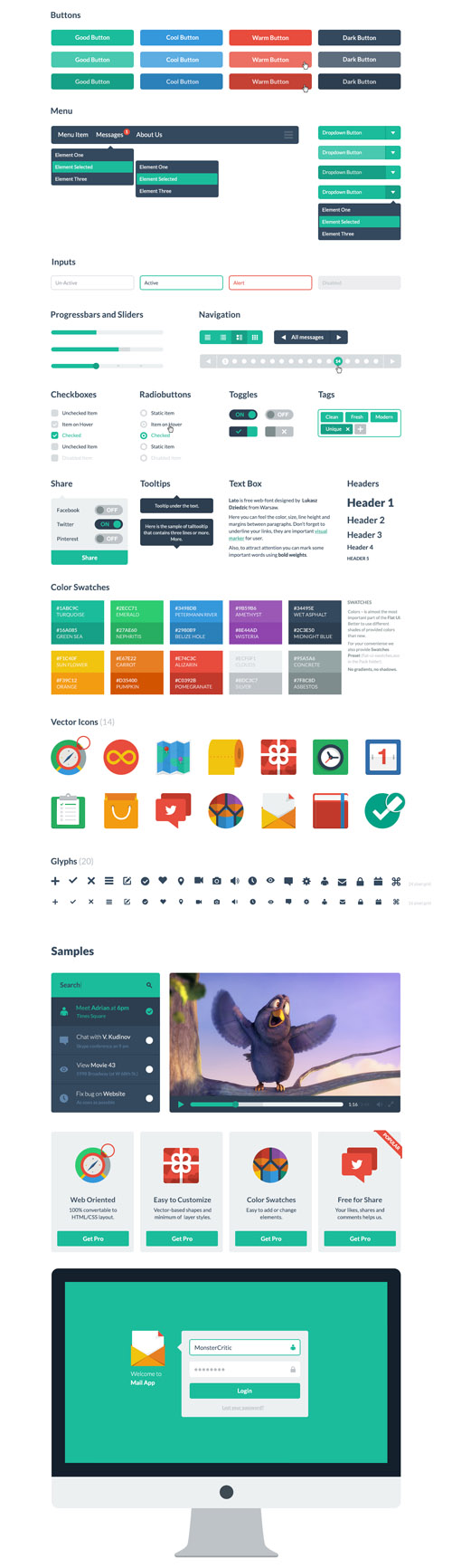 Flat Icons and Web Elements for UI Design-31