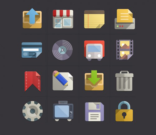 Flat Design Icons Set Vol 3 (PSD)