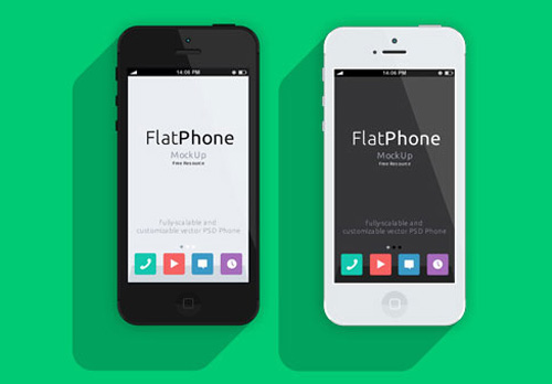 Flat iPhone 5 PSD mockup