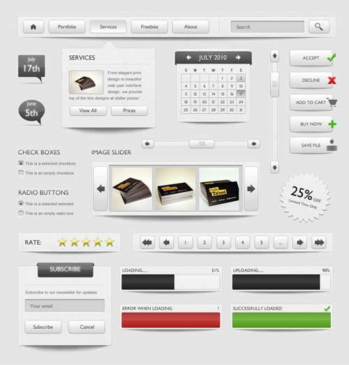 The gray web interface element PSD material