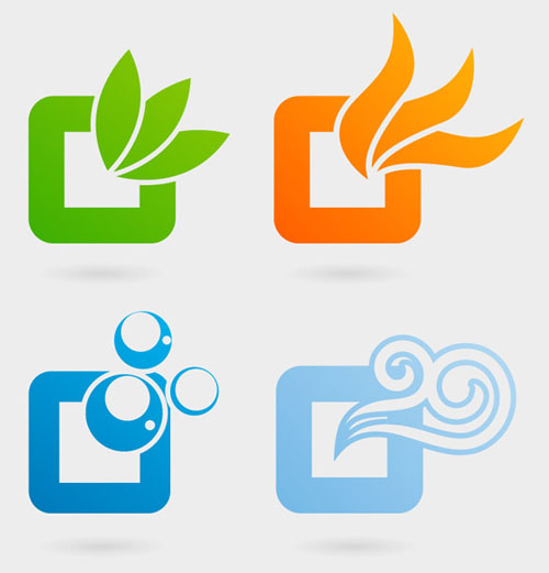 Nature Elements Logos Vector Graphics