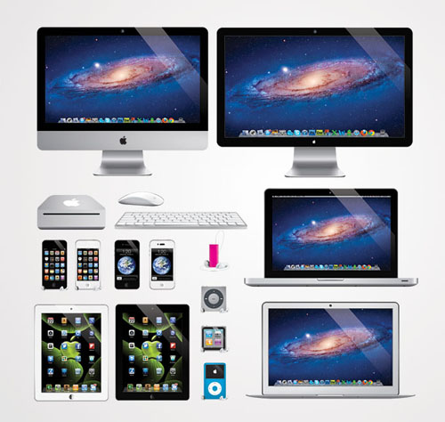 Vector Apple Products: iMac, iPhone, iPad, Macbook Vector Graphics