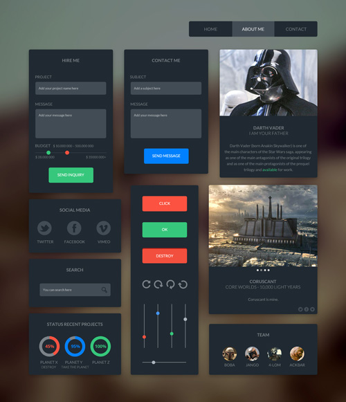 Dark UI Kit – Free download