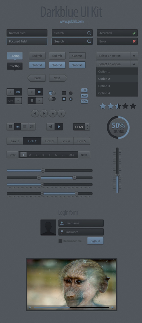 Darkblue UI Kit