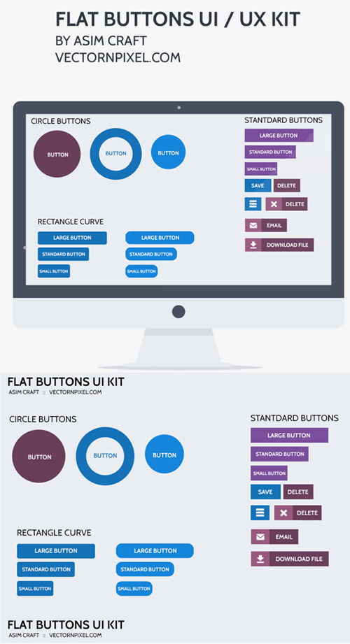 Flat Buttons UI/UX Kit