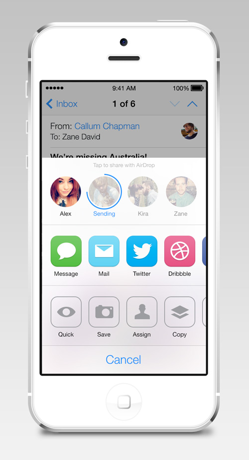 iOS7 AirDrop/Share Redesign