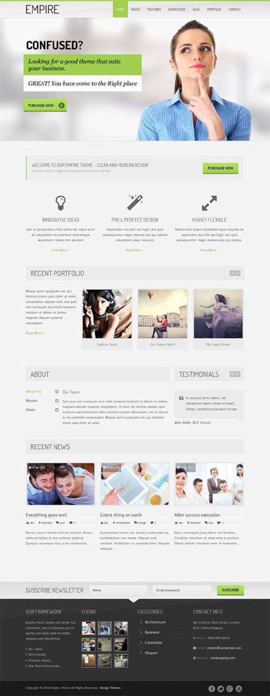New premium responsive wordpress themes wordpress themes graphic empire wordpress green corporate business theme accmission Image collections