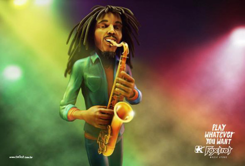 Foxtrot Music Store: Bob Marley Sax Advertising Poster-21