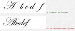 Separate font Characters