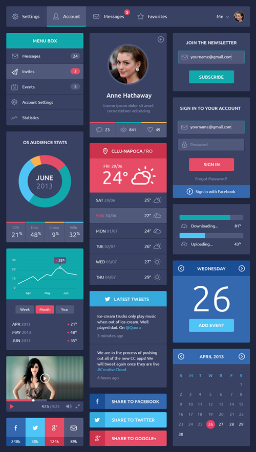 Flat Design UI Components