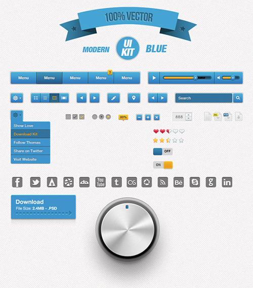 Freebie Modern Blue UI Kit PSD