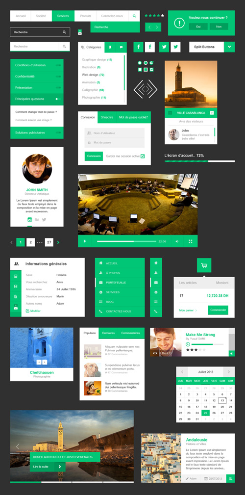 Green Free Flat UI Kit