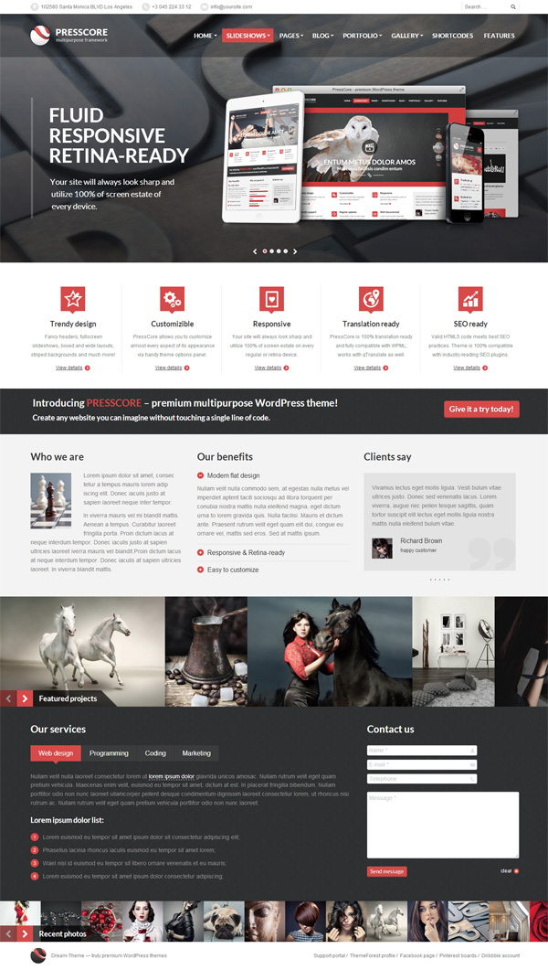 PressCore: responsive multipurpose WordPress theme