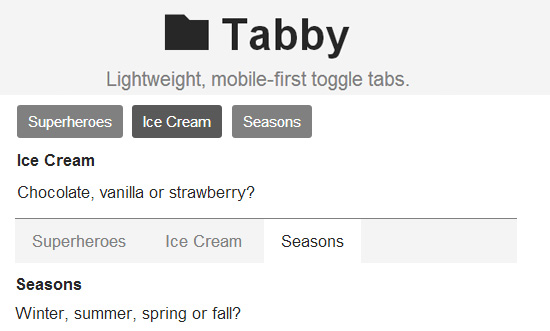 Tabby: Lightweight and Mobile First Toggle Tabs