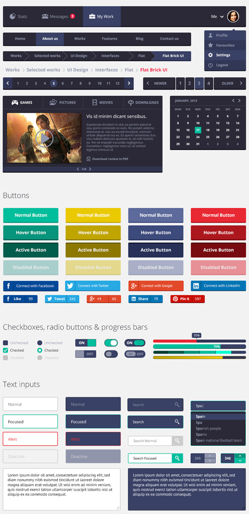 Flat Rounded Square UI Kit