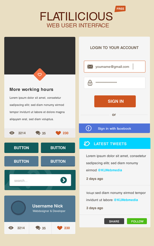 Flatilicious User Interface Free