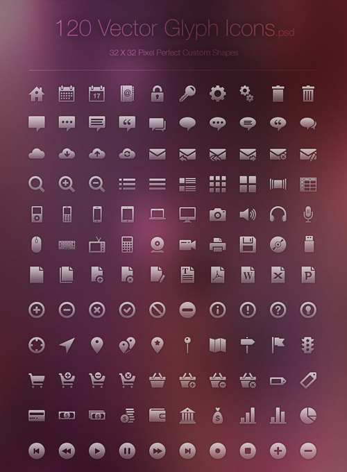 Vector Glyph Icons Free PSD File