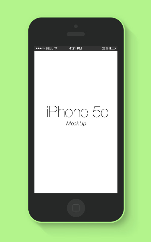 Flat iPhone 5c Mockup Free PSD File