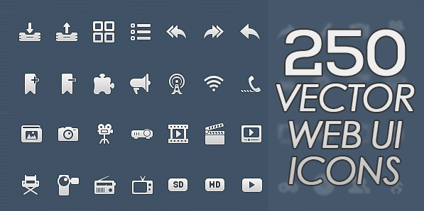 250 High Quality Vector Web UI Icons