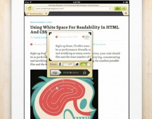 Webnote iPad app for Mobile Web-Browsing and Content Cataloging Together