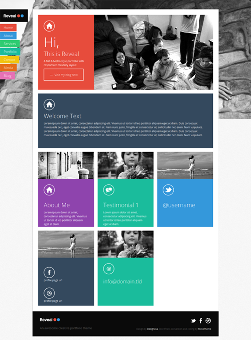 Reveal - Flat / Metro Masonry WordPress Theme