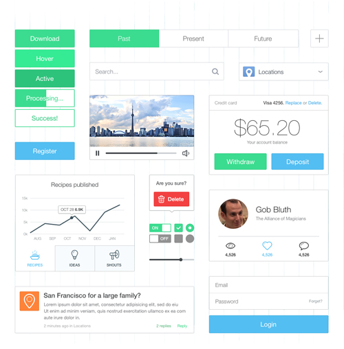 Free Thin and Bright UI Kit