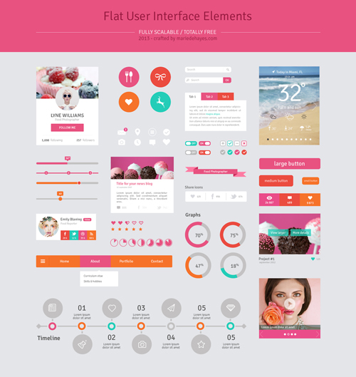 Freebie Flat Design User Interface Elements